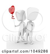 Royalty Free RF Clip Art Illustration Of A 3d Ivory White Couple Walking And Holding Hands With A Heart Balloon