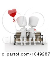Royalty Free RF Clip Art Illustration Of A 3d Ivory White Couple Sitting And Holding Hands With A Heart Balloon