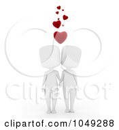 Royalty Free RF Clip Art Illustration Of A 3d Ivory White Couple Holding Hands Under Hearts