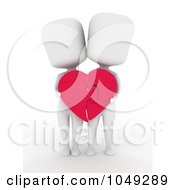 Royalty Free RF Clip Art Illustration Of A 3d Ivory White Couple Holding A Heart Puzzle Together