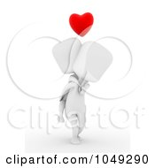 Royalty Free RF Clip Art Illustration Of A 3d Ivory White Man Carrying His Girlfriend On His Back
