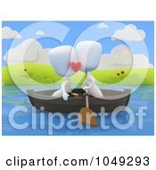 Royalty Free RF Clip Art Illustration Of A 3d Ivory White Couple Kissing In A Boat by BNP Design Studio