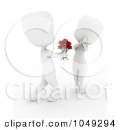Royalty Free RF Clip Art Illustration Of A 3d Ivory White Man Giving A Woman Roses
