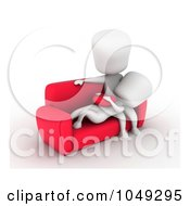 Royalty Free RF Clip Art Illustration Of A 3d Ivory White Couple Relaxing On A Couch