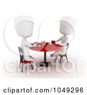 Royalty Free RF Clip Art Illustration Of A 3d Ivory White Couple On A Date At A Cafe 3