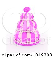 Royalty Free RF Clip Art Illustration Of A 3d Pink Three Layer Valentine Cake With Hearts