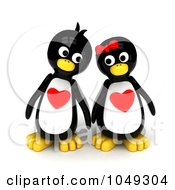 Royalty Free RF Clip Art Illustration Of A 3d Penguin Pair With Hearts On Their Chests