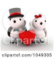 Royalty Free RF Clip Art Illustration Of A 3d Bird Couple With A Red Heart by BNP Design Studio