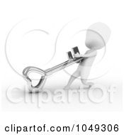 Royalty Free RF Clip Art Illustration Of A 3d Ivory White Person Dragging A Heart Skeleton Key