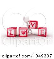 Royalty Free RF Clip Art Illustration Of A 3d Ivory White Person Spelling Love With Blocks