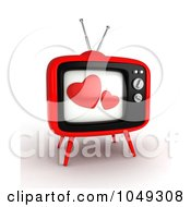 Royalty Free RF Clip Art Illustration Of A 3d Television With Hearts On The Screen