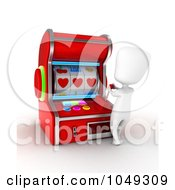 Royalty Free RF Clip Art Illustration Of A 3d Ivory White Person Using A Slot Machine