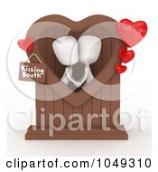 Royalty Free RF Clip Art Illustration Of A 3d Ivory White Person Couple In A Kissing Booth