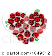Royalty Free RF Clip Art Illustration Of A 3d Heart Formed Of Lady Bugs And Leaves