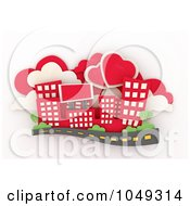 Royalty Free RF Clip Art Illustration Of A 3d Red City With Heart Clouds