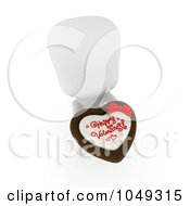 Royalty Free RF Clip Art Illustration Of A 3d Ivory White Person Holding A Valentine Heart Cake
