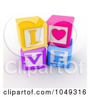 Royalty Free RF Clip Art Illustration Of 3d Colorful Alphabet Blocks Spelling Love With A Heart