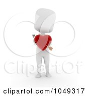 Royalty Free RF Clip Art Illustration Of A 3d Ivory White Person Holding A Heart With Cupids Arrow
