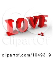 Royalty Free RF Clip Art Illustration Of A 3d Word Love With Rose Petals