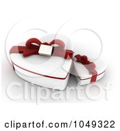 Royalty Free RF Clip Art Illustration Of 3d White Heart Valentine Gift Boxes With Red Ribbons by BNP Design Studio