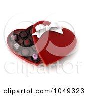 Royalty Free RF Clip Art Illustration Of A 3d Heart Box Of Valentine Chocolates by BNP Design Studio