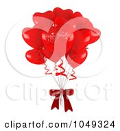 Royalty Free RF Clip Art Illustration Of A 3d Bunch Of Heart Balloons And Bow by BNP Design Studio