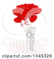 Royalty Free RF Clip Art Illustration Of A 3d Ivory White Person With A Bunch Of Valentine Heart Balloons