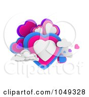 Royalty Free RF Clip Art Illustration Of 3d Blue Pink White And Purple Hearts In Clouds