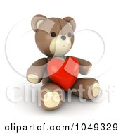Royalty Free RF Clip Art Illustration Of A 3d Valentine Teddy Bear With A Heart