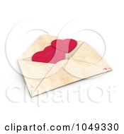 3d Red Valentine Paper Hearts In An Envelope