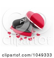 Royalty Free RF Clip Art Illustration Of A 3d Heart Box With A Silver Ring