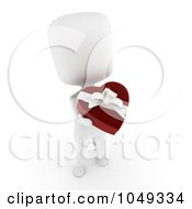 Royalty Free RF Clip Art Illustration Of A 3d Ivory White Person Holding A Heart Box Of Valentine Chocolates 1 by BNP Design Studio