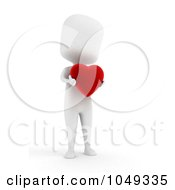 Royalty Free RF Clip Art Illustration Of A 3d Ivory White Person Holding A Heart
