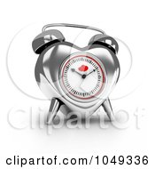 Royalty Free RF Clip Art Illustration Of A 3d Silver Valentine Heart Alarm Clock by BNP Design Studio