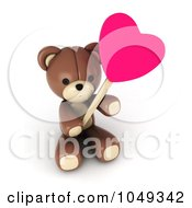 Royalty Free RF Clip Art Illustration Of A 3d Valentine Teddy Bear Holding A Heart Lolipop