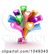 Royalty Free RF Clip Art Illustration Of A 3d Gift Box With Colorful Hearts Bursting Out by BNP Design Studio