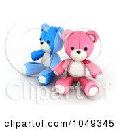 Royalty Free RF Clip Art Illustration Of A 3d Blue And Pink Valentine Teddy Bear Couple Holding Hands