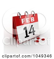 Royalty Free RF Clip Art Illustration Of A 3d February 14th Valentines Day Calendar With Rose Petals by BNP Design Studio