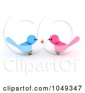 3d Blue And Pink Valentine Birds With A Heart On A String