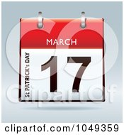 Royalty Free RF Clip Art Illustration Of A 3d Red St Patricks Day March 17 Flip Desk Calendar by michaeltravers