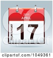 Royalty Free RF Clip Art Illustration Of A 3d Palm Sunday April 17 Flip Desk Calendar by michaeltravers