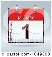 Royalty Free RF Clip Art Illustration Of A 3d January First New Years Day Flip Desk Calendar by michaeltravers
