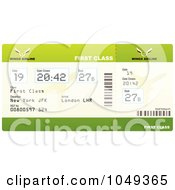 Royalty Free RF Clip Art Illustration Of A Green First Class Airplane Ticket