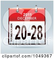 Royalty Free RF Clip Art Illustration Of A 3d Red Hanukkah December 20 28 Flip Desk Calendar by michaeltravers