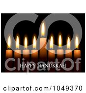 Royalty Free RF Clip Art Illustration Of A Happy Hanukkah Greeting Against Candles On Black