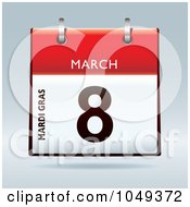 Royalty Free RF Clip Art Illustration Of A 3d Mardi Gras March 8 Flip Desk Calendar by michaeltravers