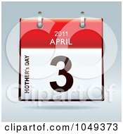 Royalty Free RF Clip Art Illustration Of A 3d Mothers Day April 3 Flip Desk Calendar by michaeltravers