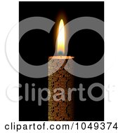 Royalty Free RF Clip Art Illustration Of A Burning Candle On Black 1