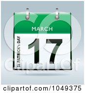 Royalty Free RF Clip Art Illustration Of A 3d Green St Patricks Day March 17 Flip Desk Calendar by michaeltravers