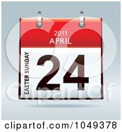 Royalty Free RF Clip Art Illustration Of A 3d Easter April 24 Flip Desk Calendar by michaeltravers